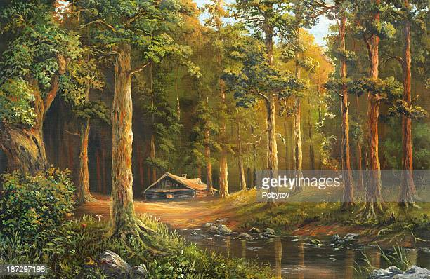 An oil painting of a wooden cabin in a forest clearing