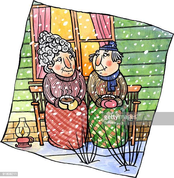 an old couple having cocoa together on a porch - 年配のカップル点のイラスト素材/クリップアート素材/マンガ素材/アイコン素材