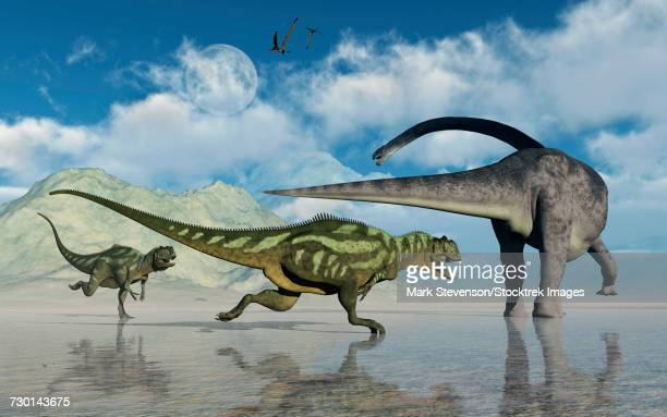 an omeisaurus being chased by a pair of yangchuanosaurus dinosaurs. - jurassic stock illustrations, clip art, cartoons, & icons