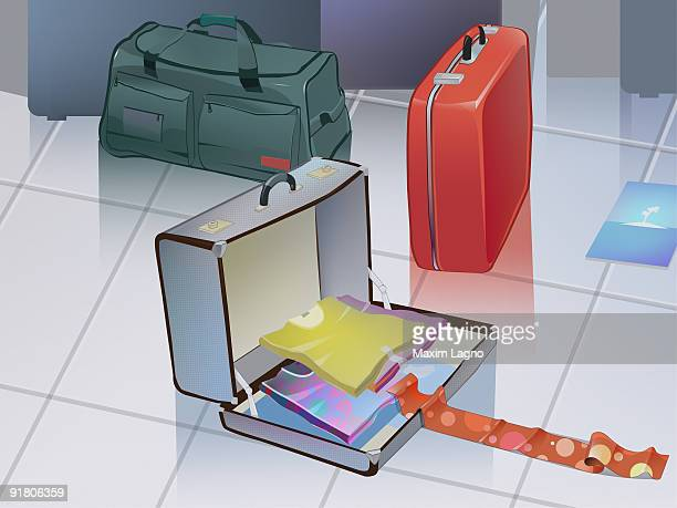 An open suitcase with vacation clothes and other baggage