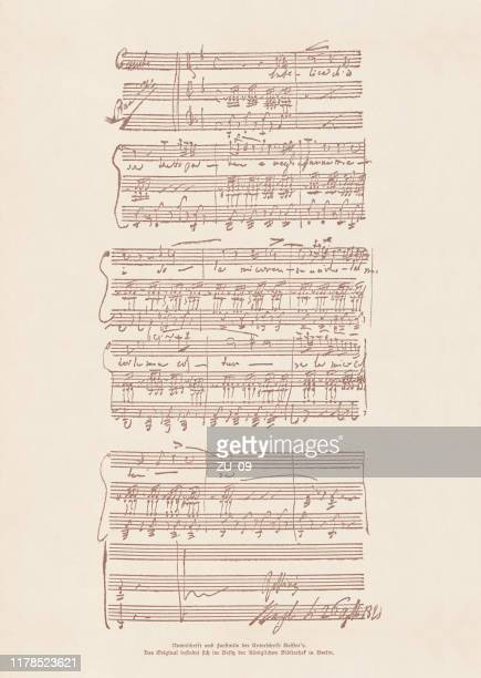an original manuscript by gioachino rossini (1792-1868), facsimile, published 1885 - sheet music stock illustrations