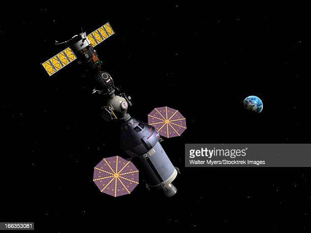 An Orion class Crew Exploration Vehicle paired with a Soyuz TMA spacecraft.