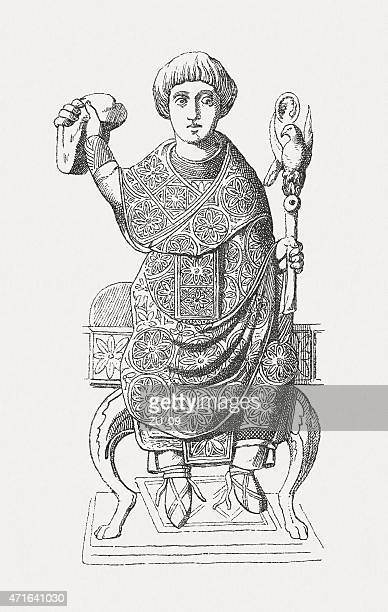 anastasius, roman consul (517), wood engraving, published in 1881 - governmental occupation stock illustrations, clip art, cartoons, & icons