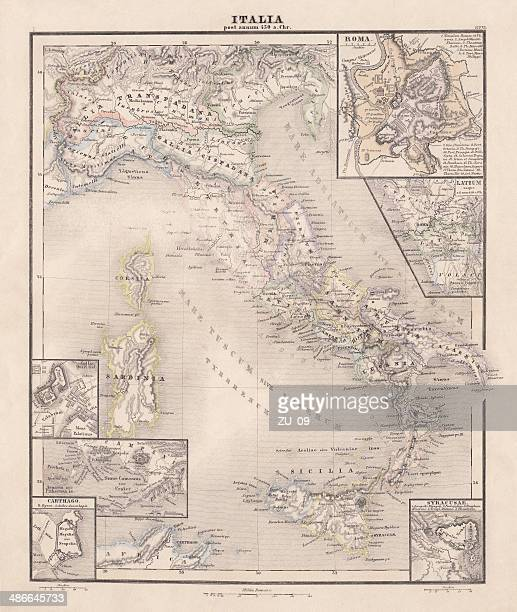 ancent italy, c.450 bc, steel engraving, published in 1861 - etruscan stock illustrations