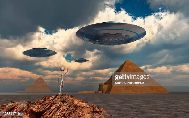 ancient aliens, the true builders of the egyptian pyramids. - giza stock illustrations