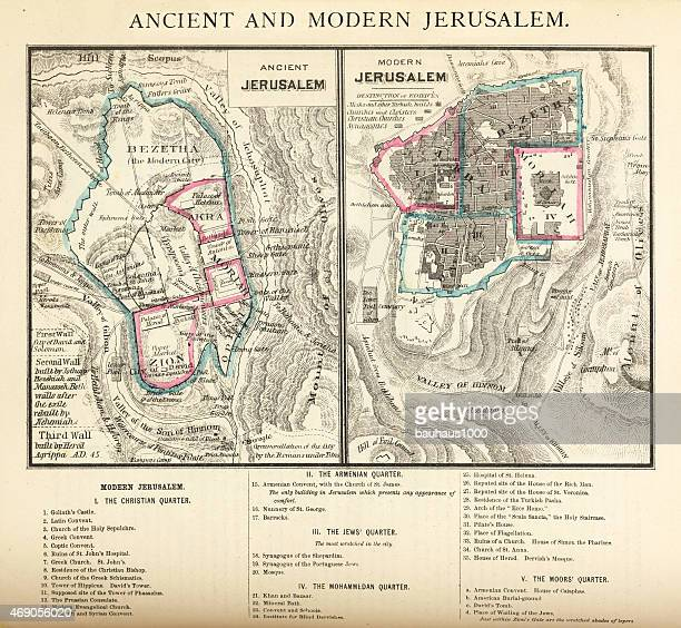 ancient and modern jerusalem map engraving - jerusalem stock illustrations, clip art, cartoons, & icons