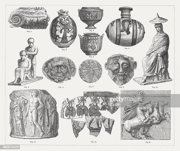 ancient archaeological artefacts, published in 1880 - pottery stock illustrations, clip art, cartoons, & icons