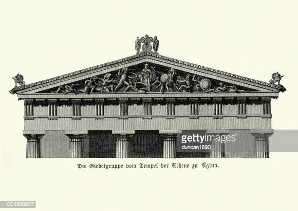 ancient architecture, temple of athena - pediment stock illustrations, clip art, cartoons, & icons