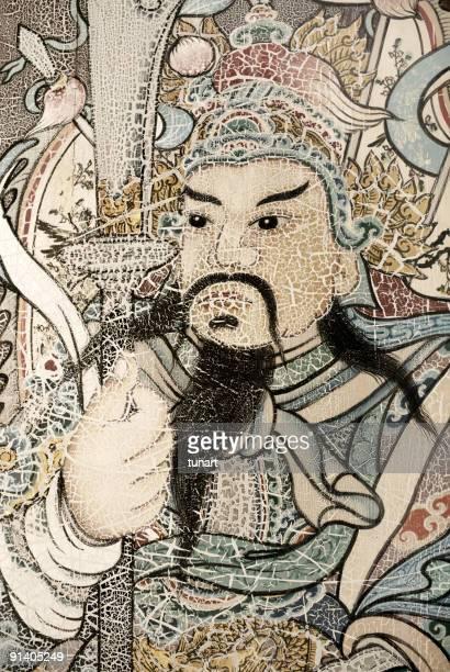 Anciennes œuvres d'art sur le mur de Wat Pho