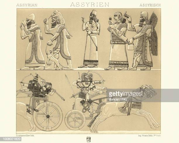 ancient assyrian bas reilef of chariots - relief carving stock illustrations