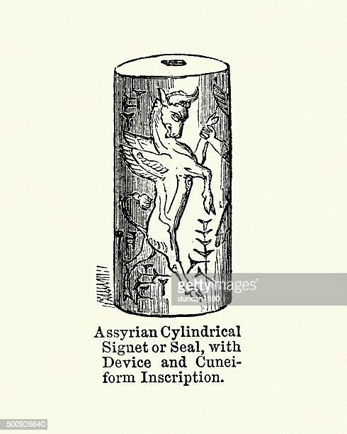 ancient assyrian cylindrical signet or seal - great seal stock illustrations, clip art, cartoons, & icons