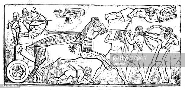 ancient assyrian reliefs - relief carving stock illustrations
