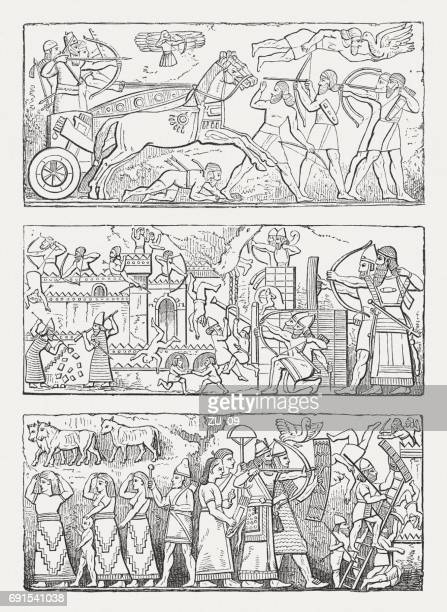 ancient assyrian reliefs, wood engravings, published in 1880 - 8th century bc stock illustrations, clip art, cartoons, & icons