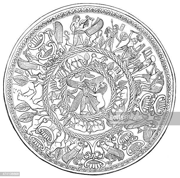 ancient assyrian silver bowl with ornament - fossil stock illustrations, clip art, cartoons, & icons