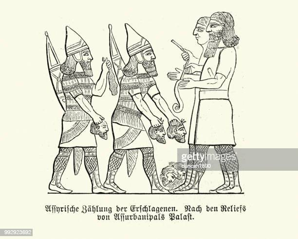 ancient assyrian soldiers carrying served heads of enemies - bas relief stock illustrations