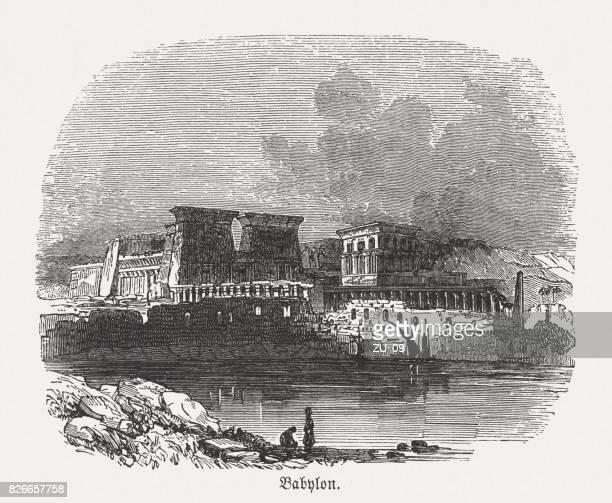 ancient babylon, wood engraving, published in 1886 - ancient babylon stock illustrations
