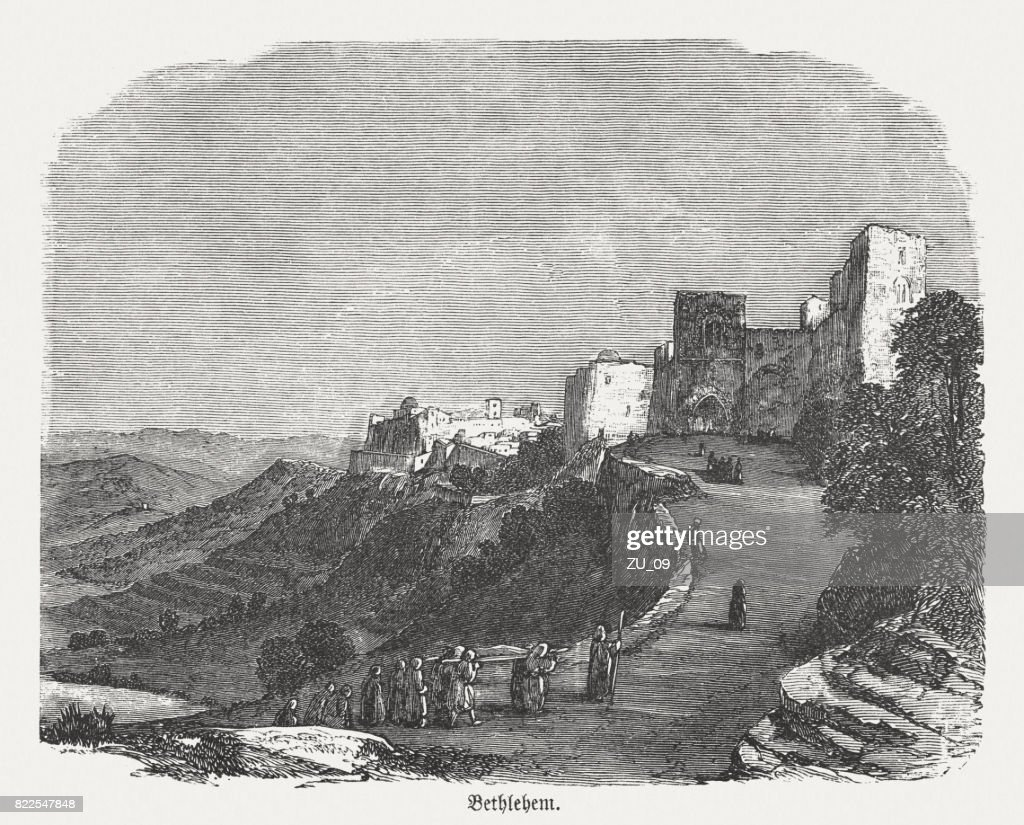 Ancient Bethlehem, wood engraving, published in 1886 : stock illustration