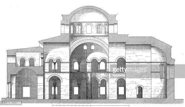 ancient byzantine orthodox hagia sophia cathedral in the center of city of thessaloniki, central macedonia, greece - tourist resort stock illustrations, clip art, cartoons, & icons