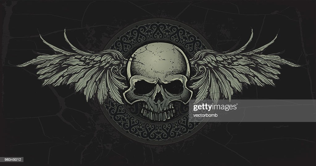 Ancient Celtic Skull with Wings Medallian