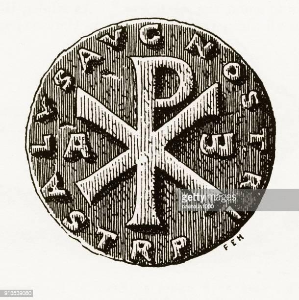 Oude Christian munt met christelijke symboliek gravure