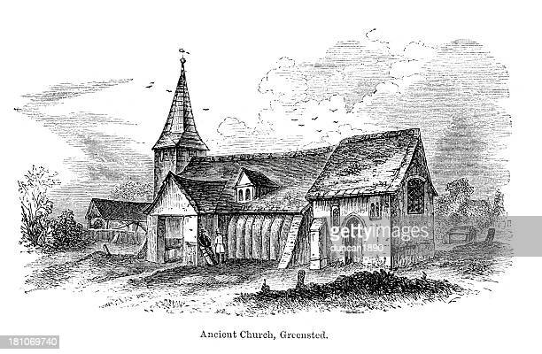 ancient church, greensted - steeple stock illustrations, clip art, cartoons, & icons