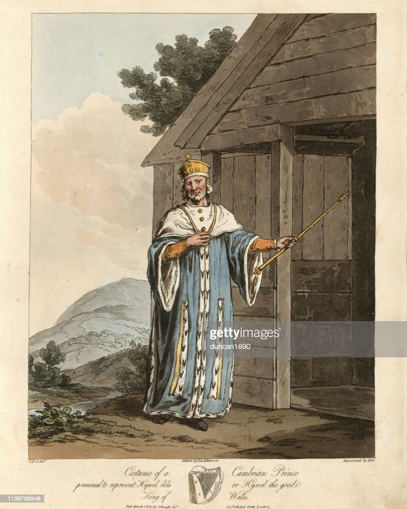 Ancient costume of a Cambrian Prince, Hywel Dda : stock illustration