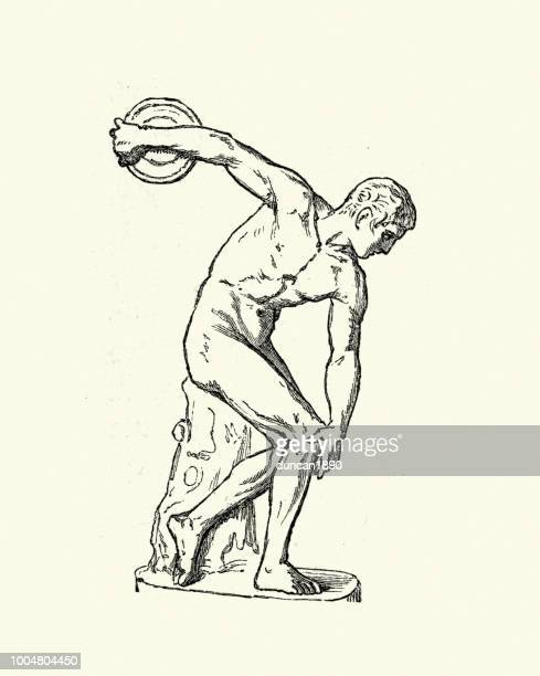 ancient discus thrower - ancient olympic games stock illustrations, clip art, cartoons, & icons