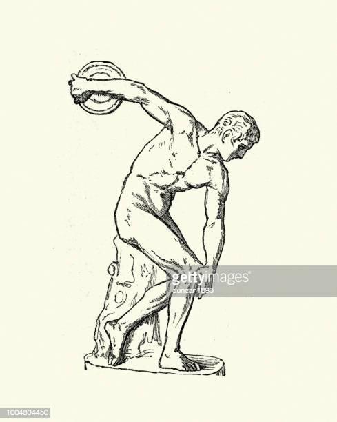 ancient discus thrower - discus stock illustrations, clip art, cartoons, & icons