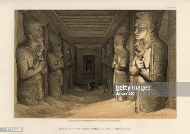 ancient egypt, interior of the great temple of abu simbel - nubia stock illustrations, clip art, cartoons, & icons