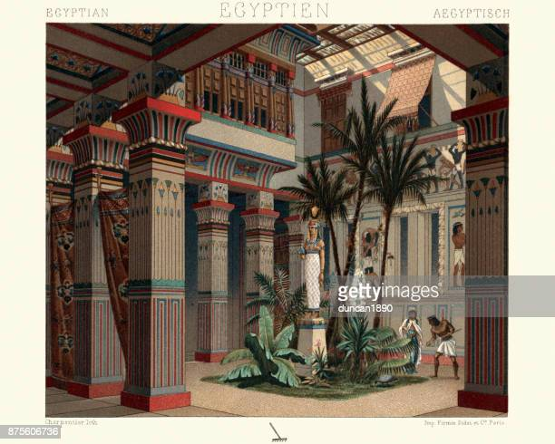 ancient egypt - internal courtyard of a dwelling - ancient egyptian culture stock illustrations