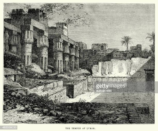 ancient egypt - temple at luxor - thebes egypt stock illustrations