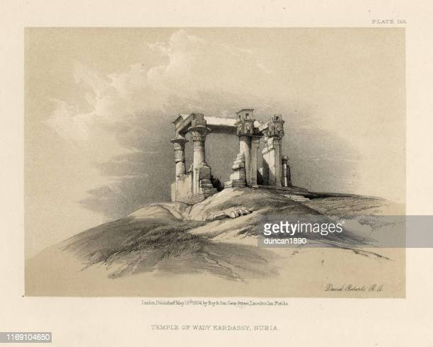 ancient egypt, temple of wady kardassy, nubia - nubia stock illustrations, clip art, cartoons, & icons