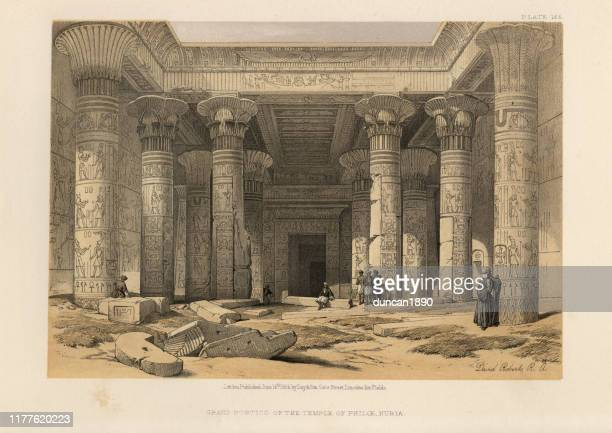 ancient egyptian architecture, grand portico of temple of philae, nubia - ancient egyptian culture stock illustrations