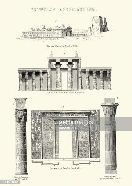 ancient egyptian architecture - thebes egypt stock illustrations