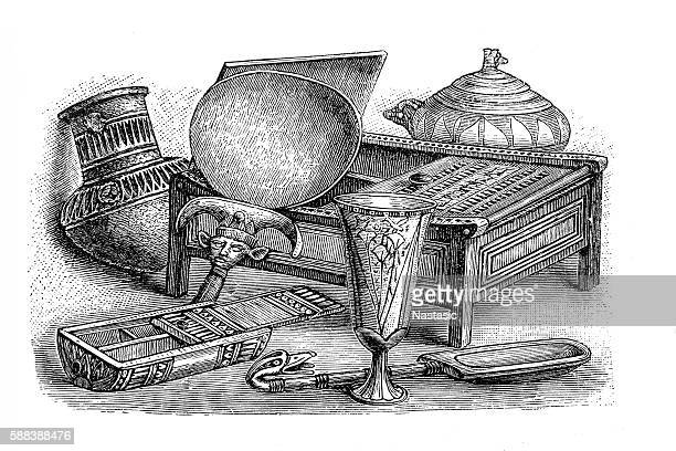 ancient egyptian boxes and pottery - earthenware stock illustrations, clip art, cartoons, & icons