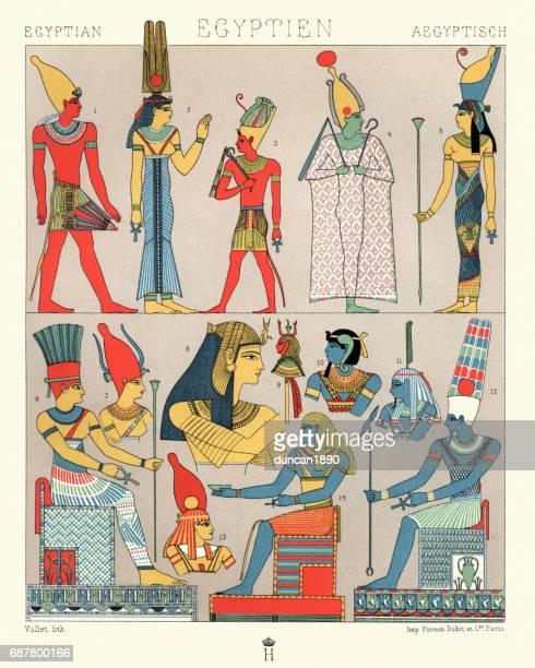 ilustrações, clipart, desenhos animados e ícones de trajes egípcias antigas, divino e elegância rural - cultura egípcia