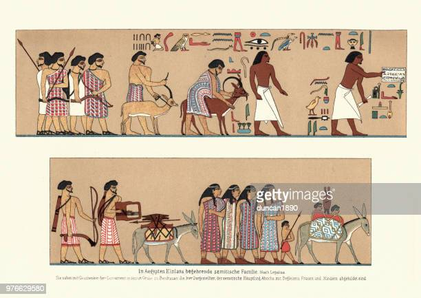 ancient egyptian family bearing gifts - north african ethnicity stock illustrations, clip art, cartoons, & icons