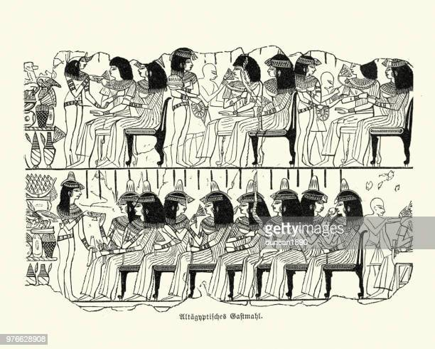 ancient egyptian feast - north african ethnicity stock illustrations, clip art, cartoons, & icons