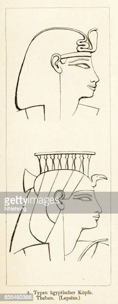 ancient egyptian headwear from thebes - thebes egypt stock illustrations