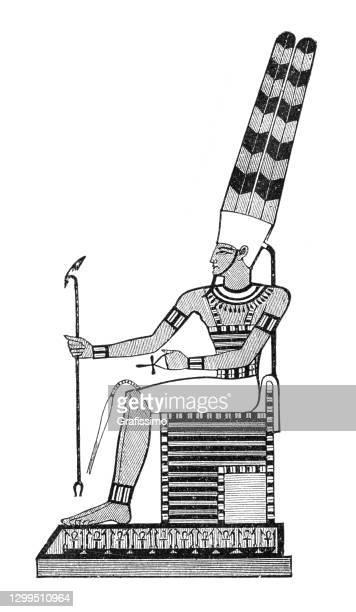 ancient egyptian hieroglyph of god amon - pharaoh stock illustrations