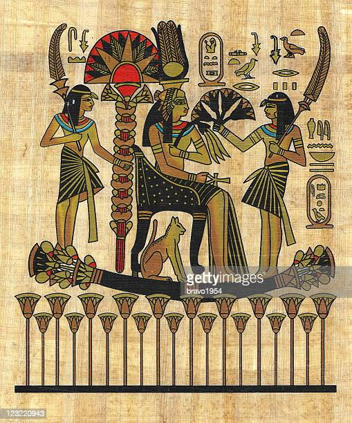 ancient egyptian papyrus - archaeology stock illustrations