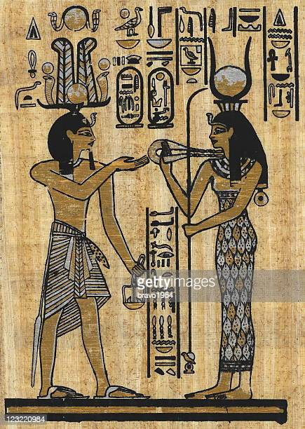 ancient egyptian papyrus - papyrus paper stock illustrations
