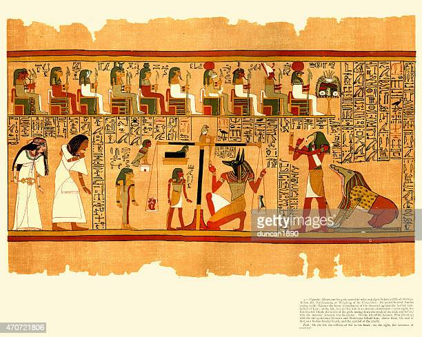 ancient egyptian papyrus of ani - book of the dead - papyrus paper stock illustrations