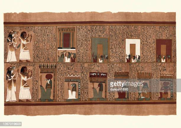 ancient egyptian papyrus of ani, seven gates called arit - papyrus paper stock illustrations