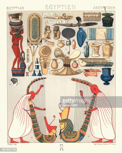 Ancient egyptian utensils and domestic objects harp musicians
