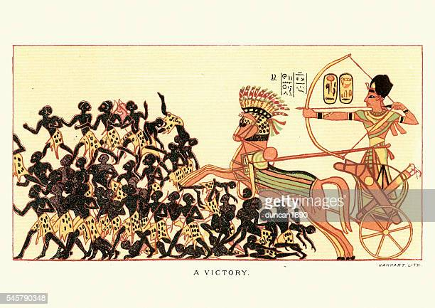 ancient egyptian victory over african warriors - nubia stock illustrations, clip art, cartoons, & icons