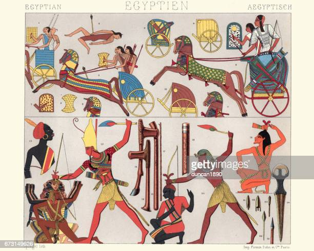 Ancient egyptian warriors and chariots