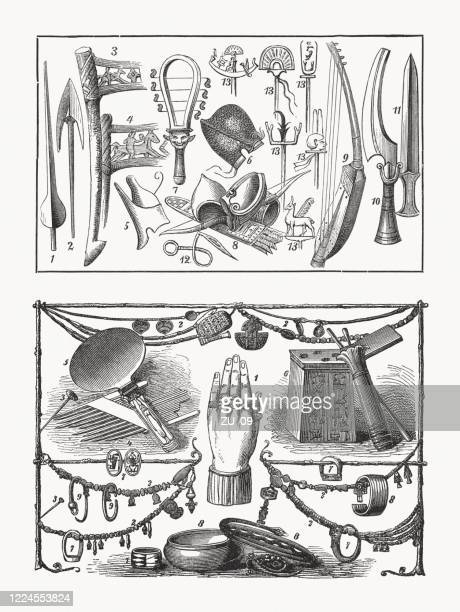 ancient egyptian weapons and jewelry items, wood engravings, published 1893 - ancient egypt jewelry stock illustrations