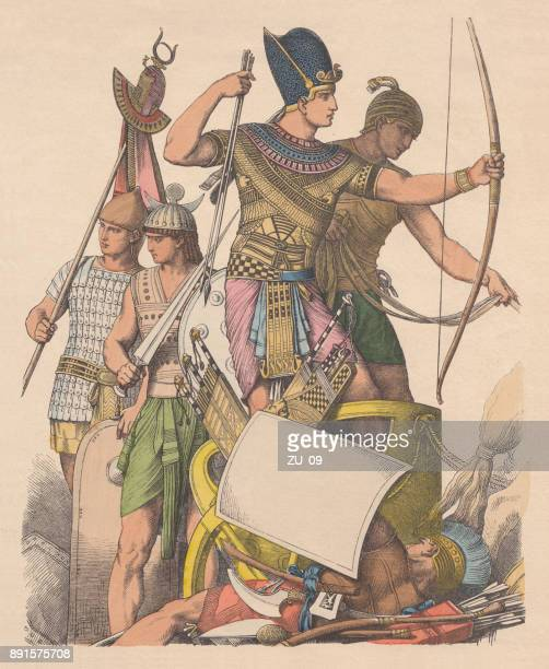 Ancient egyptians warriors, hand-colored wood engraving, published c. 1880