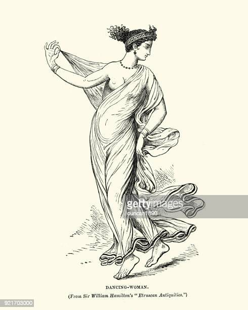 ancient etruscan dancing woman - etruscan stock illustrations